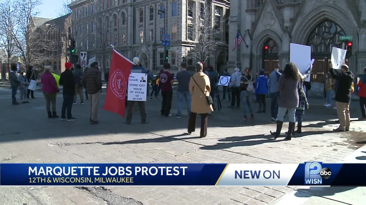 Marquette students protest staff cuts