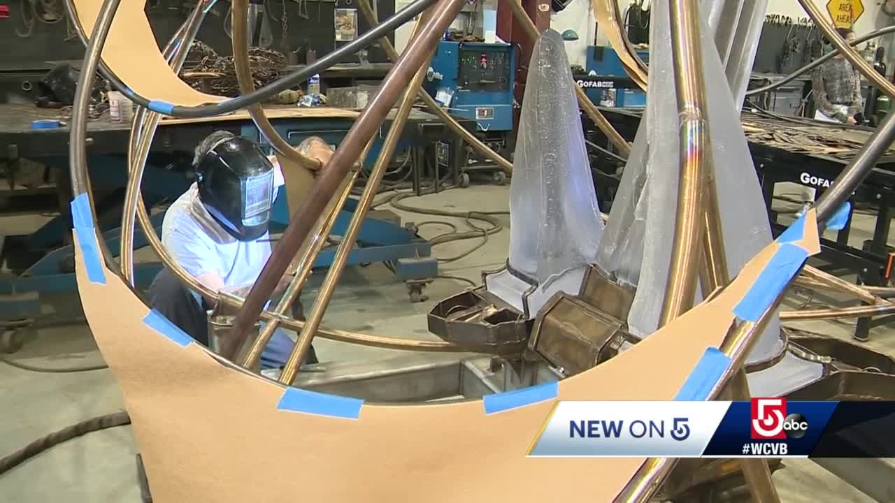 New art sculpture being placed in Boston's Seaport district