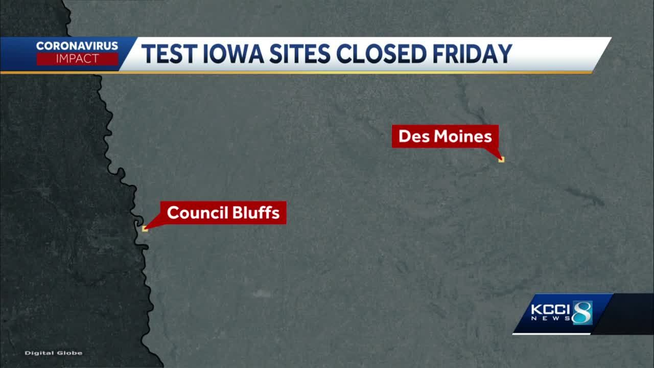 Des Moines, Council Bluffs TestIowa site closed Friday due to storm