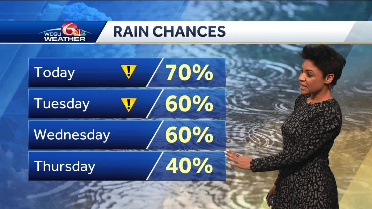 Daily scattered showers and storms, locally heavy rain