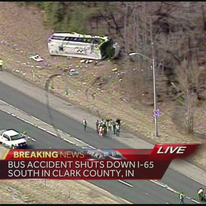 Bus accident shuts down I-65 South in Clark County