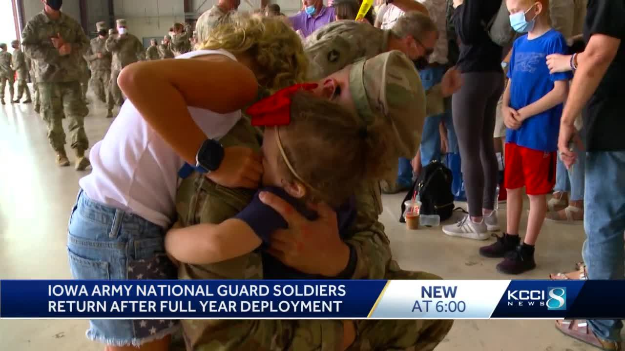 Joy and tears as Iowa Army National Guard soldiers return home