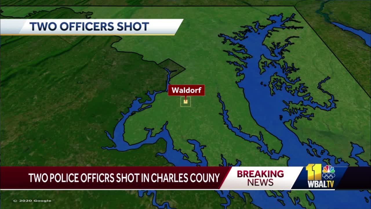 2 officers shot, suspect dead in Waldorf, Charles County sheriff says