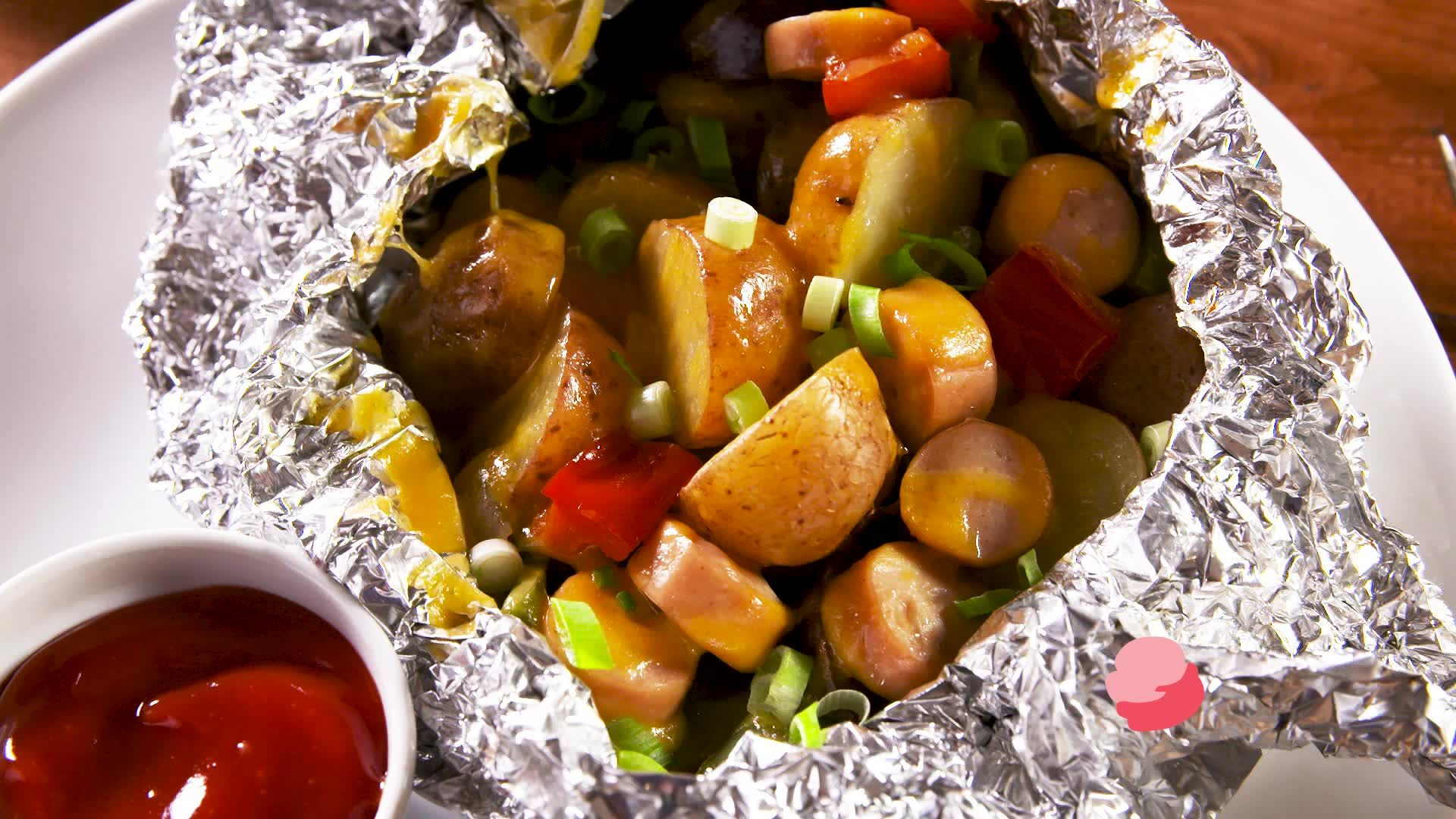 Campfire Hot Dogs & Cheesy Potatoes Foil Packets