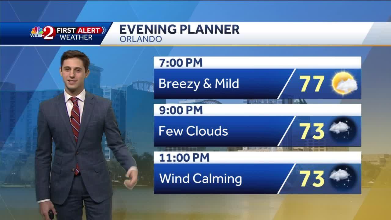 Comfortable Sunday night forecast