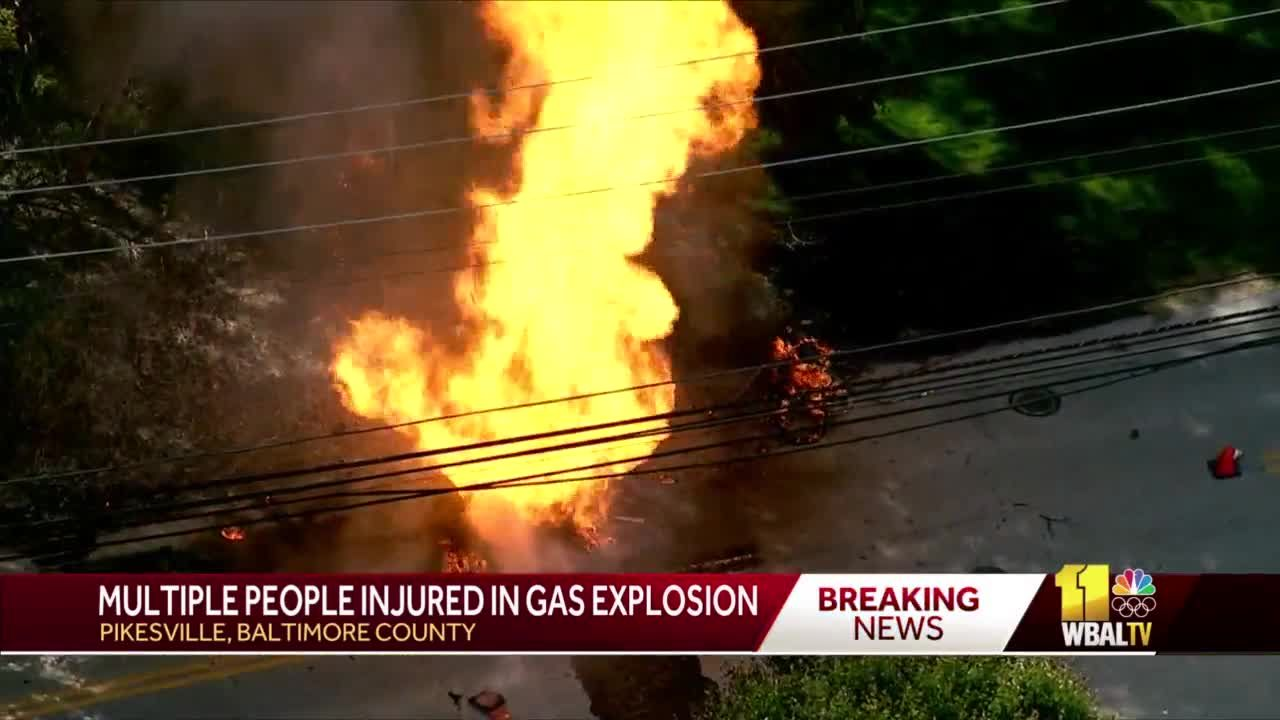 Crews injured after gas main explosion in Pikesville