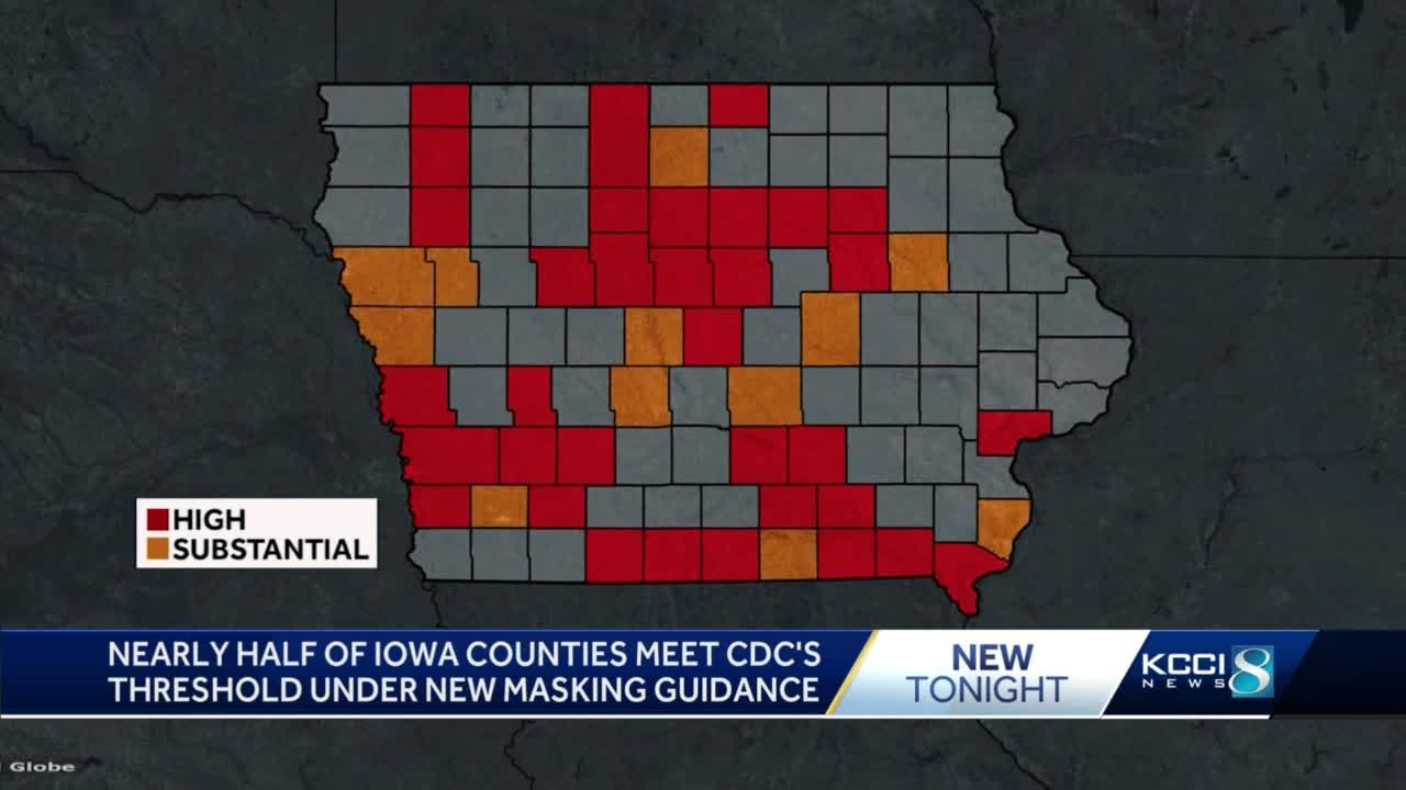 Nearly half of Iowa counties meet transmission level threshold under new CDC mask guidance