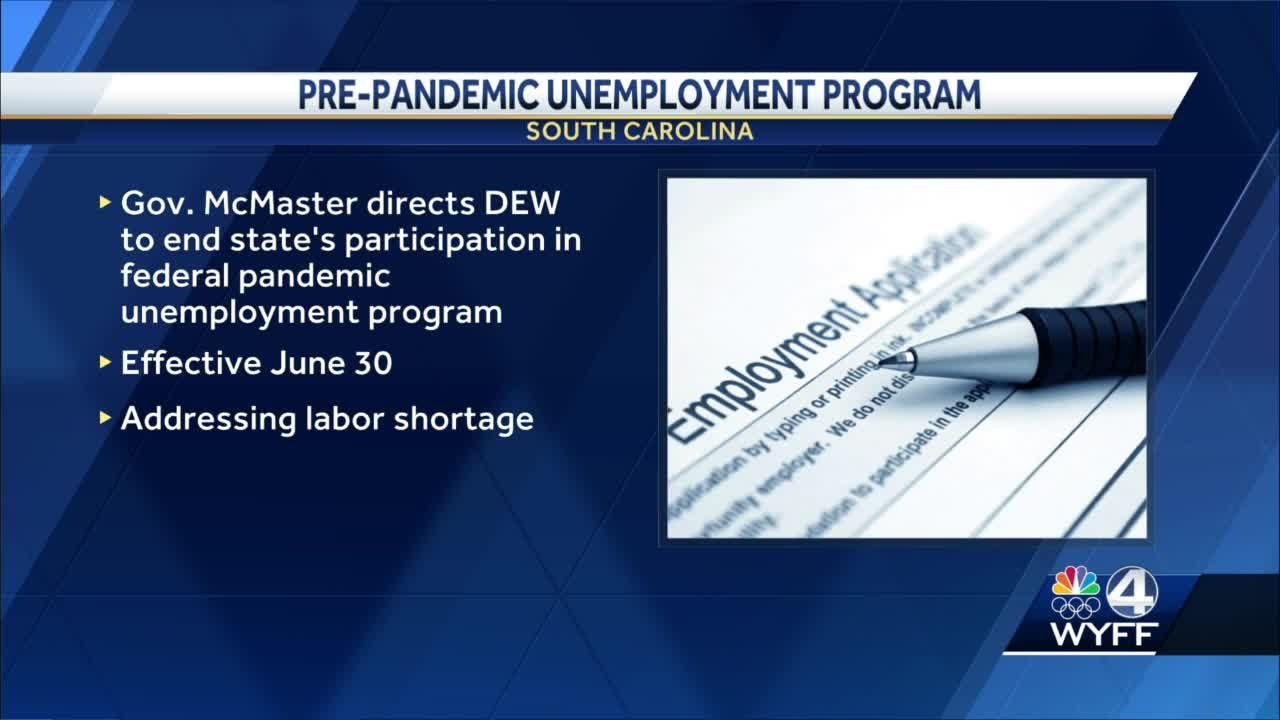 SC governor orders end of federal pandemic unemployment programs by late June