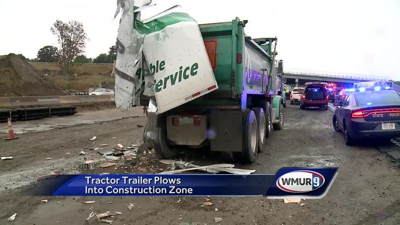 Tractor-trailer crashes into I-93 construction zone in Londonderry