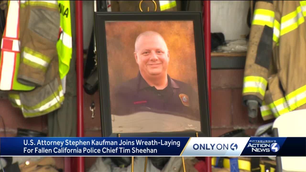 U.S. Attorney Stephen Kaufman joins wreath-laying for fallen California police chief Tim Sheehan