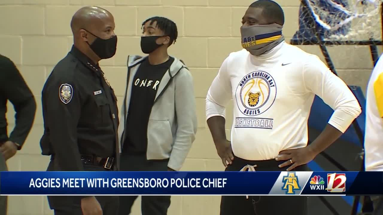 North Carolina A&T basketball players discuss racial justice with Greensboro police chief