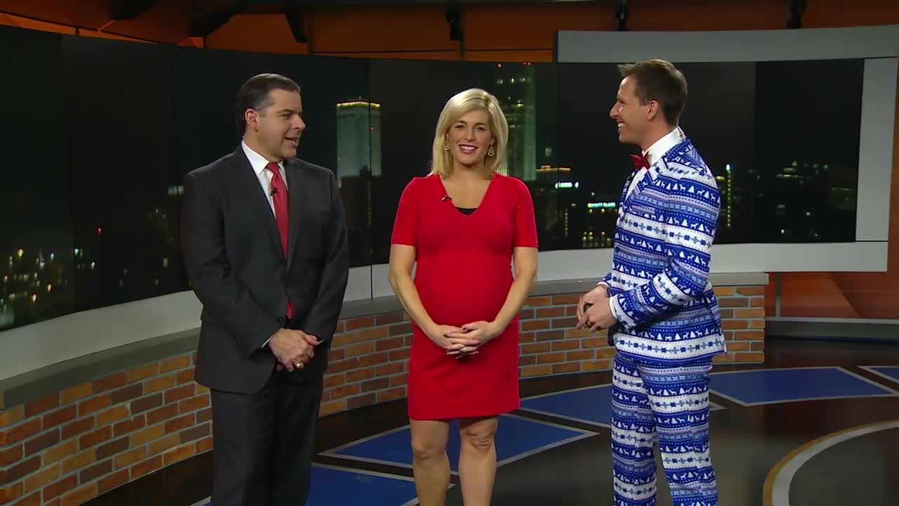 Matt Serwe shows off Christmas suit, hopes to make viewers smile