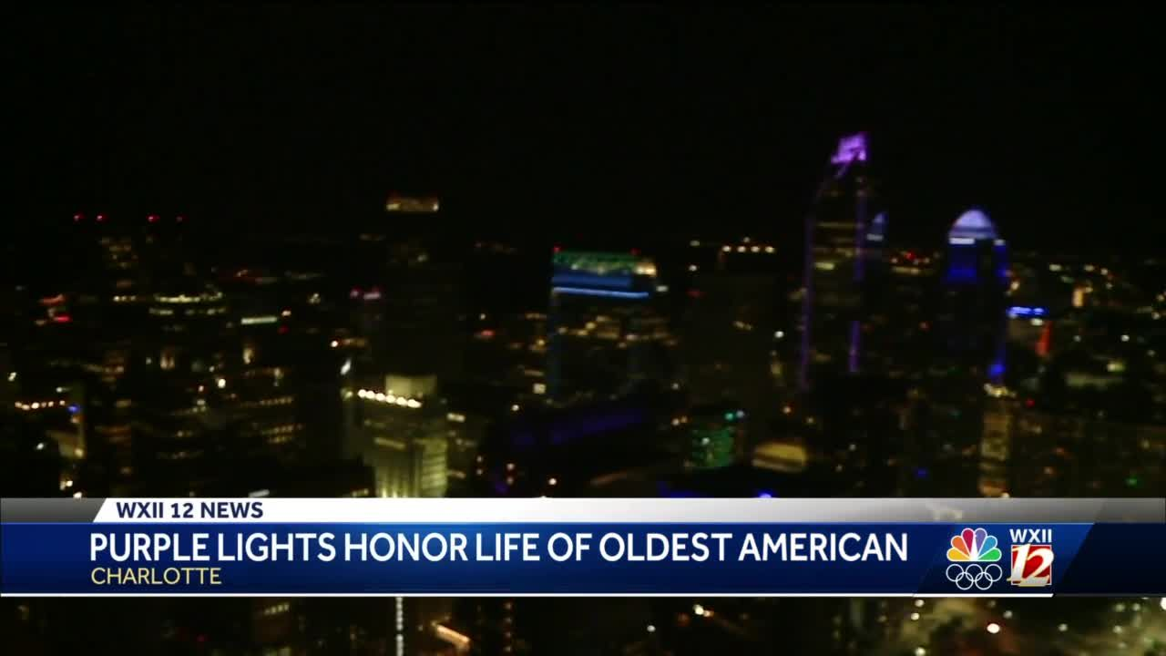 Charlotte honors late Hester Ford, oldest living American woman, with purple lights