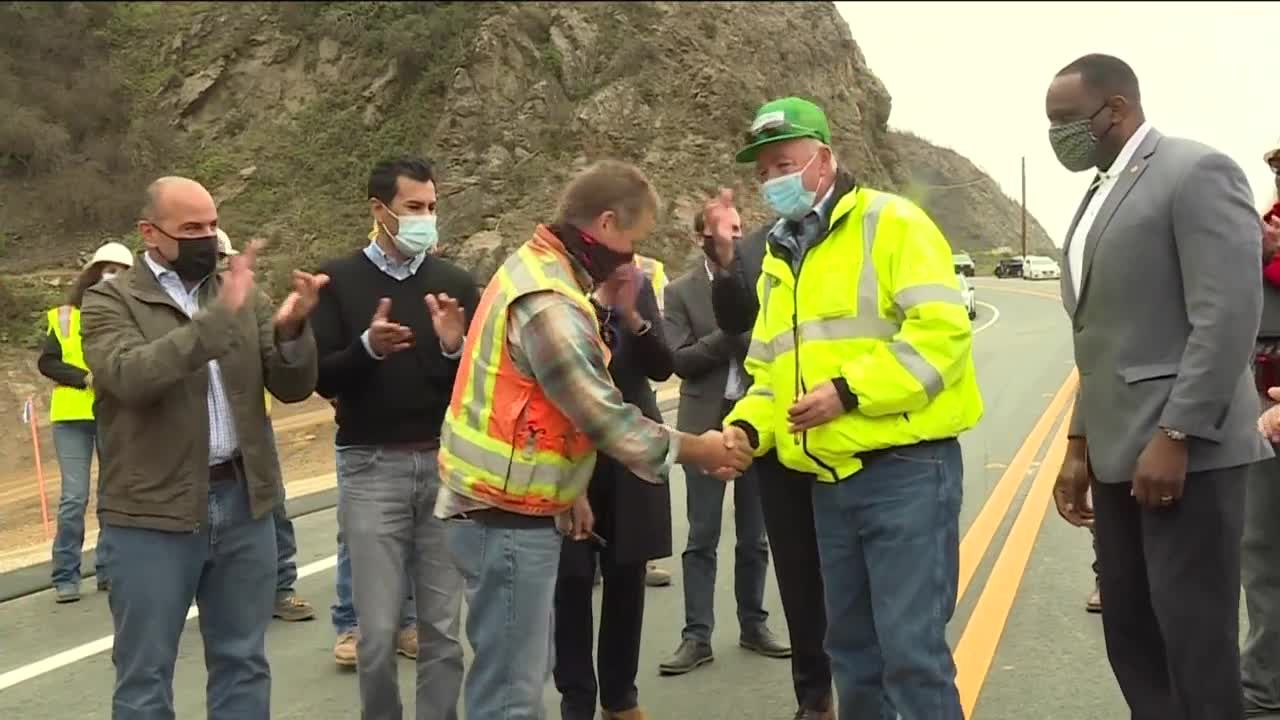 Ribbon cutting as Highway 1 is reopened in Big Sur