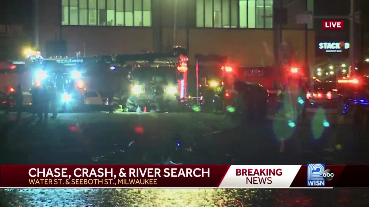 Police chase ends with car crash at river