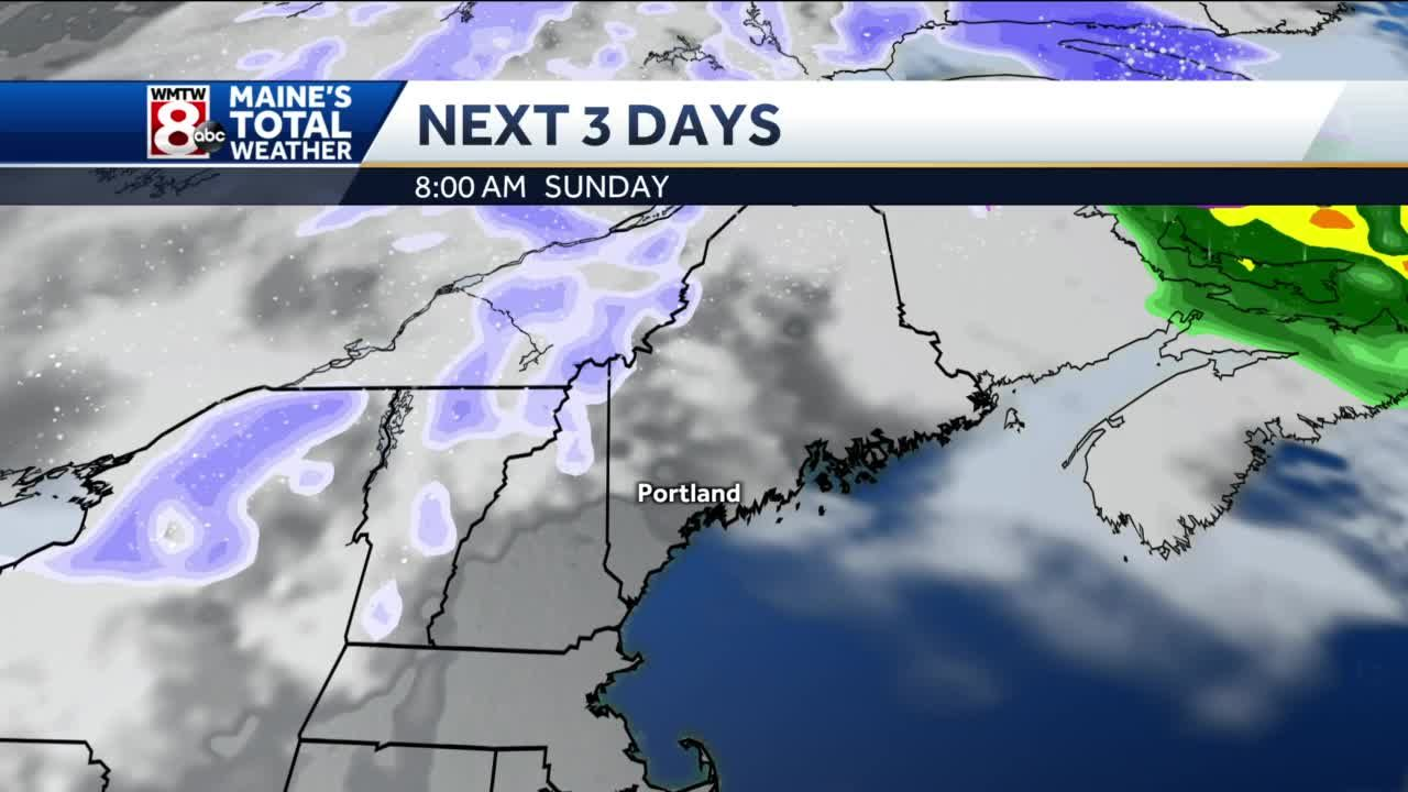 A few mountain snow showers, drying out into Sunday