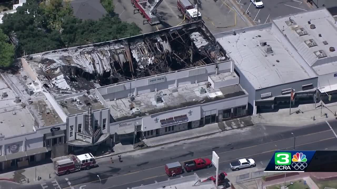 Large overnight fire causes extensive damage to historic theater in Stockton