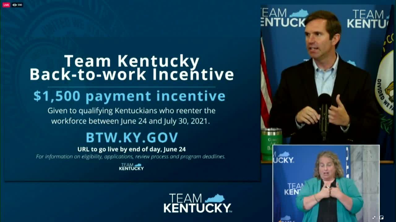 Kentucky kicking off back-to-work incentive with one-time $1,500 payment