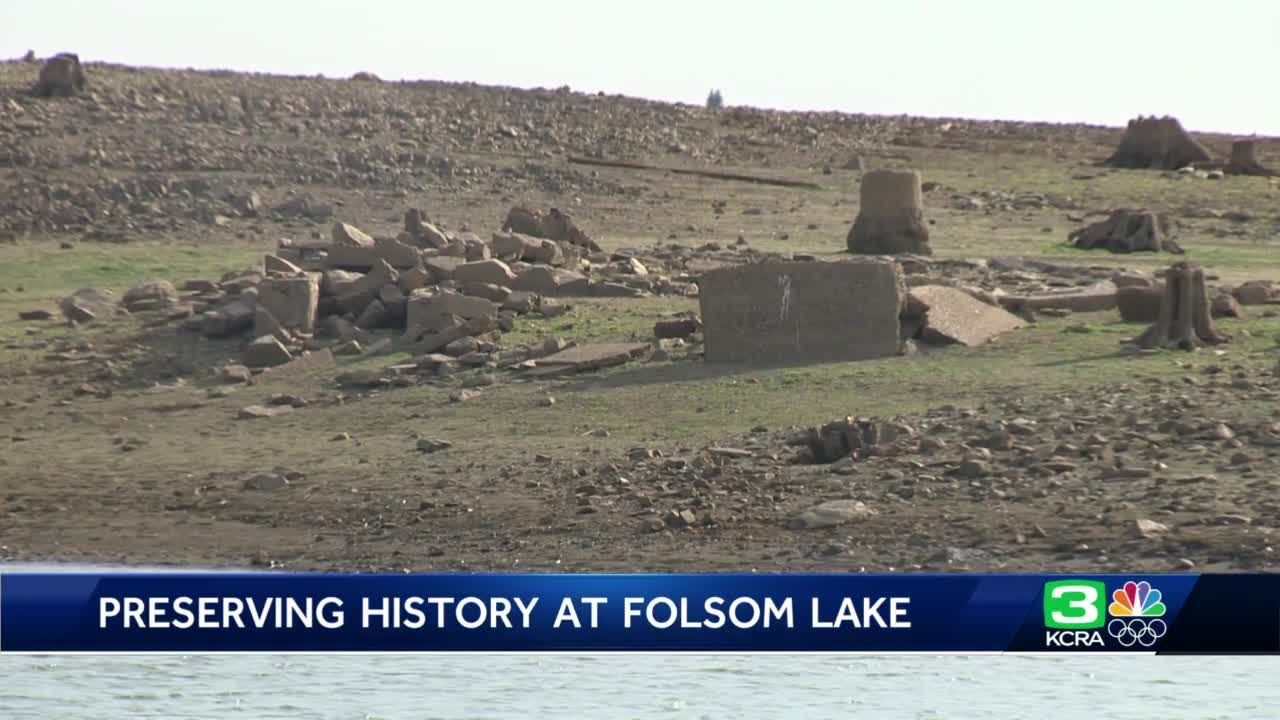 Formerly underwater artifacts, old architecture exposed at Folsom Lake State Recreation Area