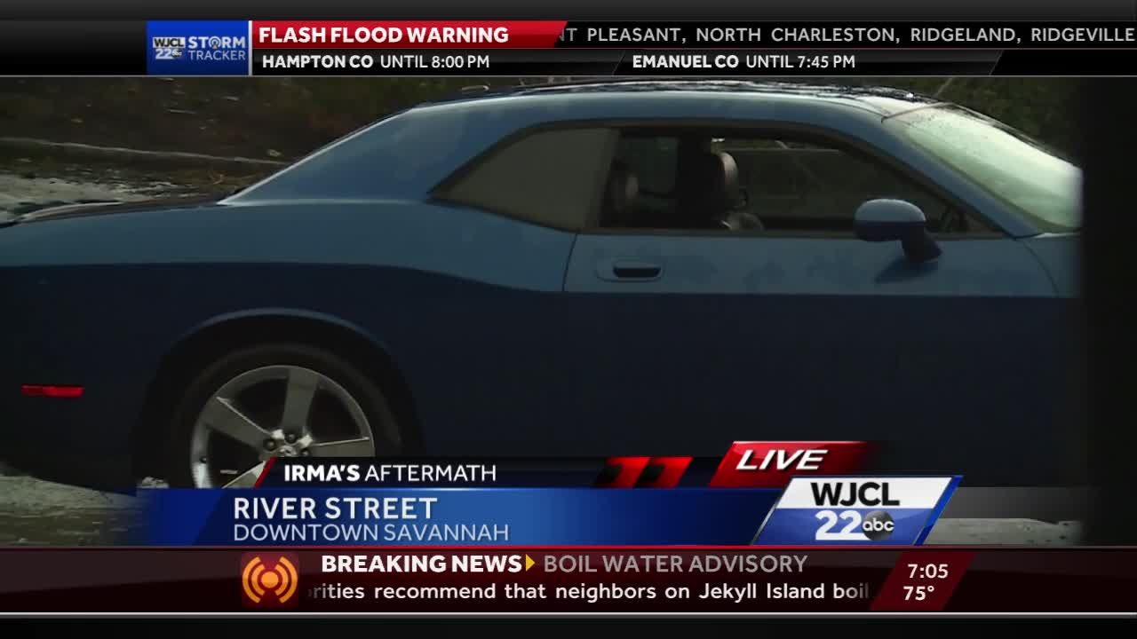 Car parked on River Street gets flooded out