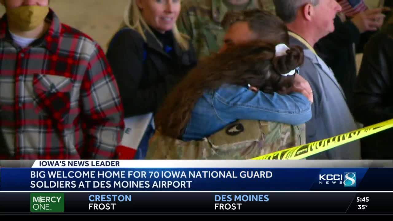 Hugs and tears: Iowa National Guard soldier get warm welcome home