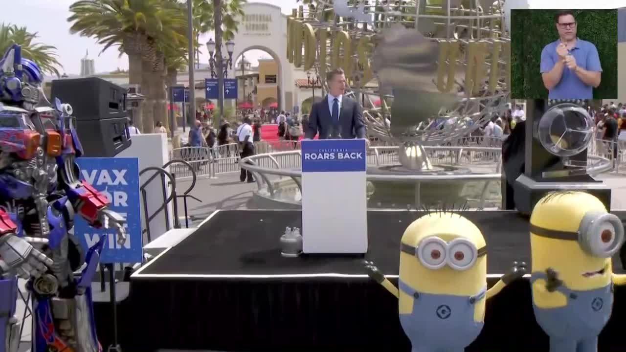 Gov. Newsom marks California's June 15 reopening at Universal Studios Hollywood