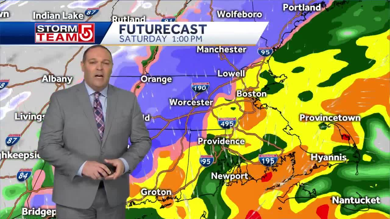 Video: Rain-snow line making its way east of I-495