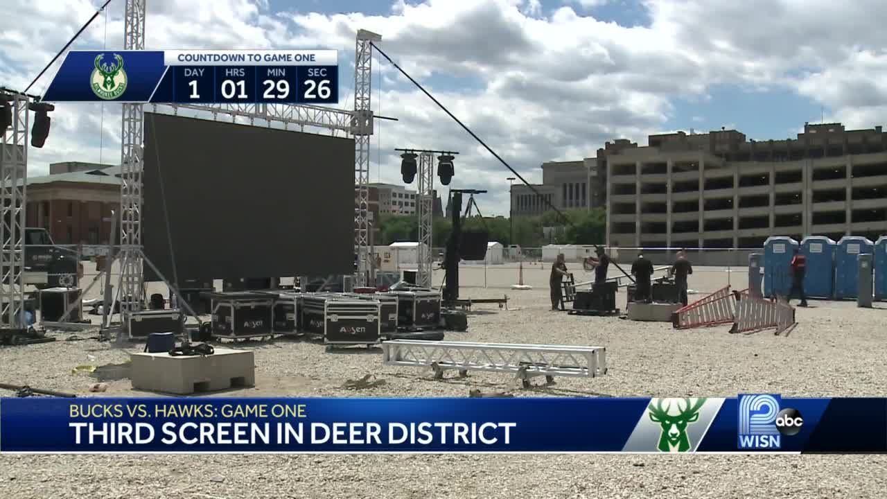 Third jumbo screen goes up in Deer District ahead of Eastern Conference Finals