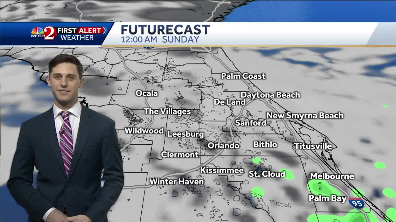 Mild and cloudy Saturday night forecast