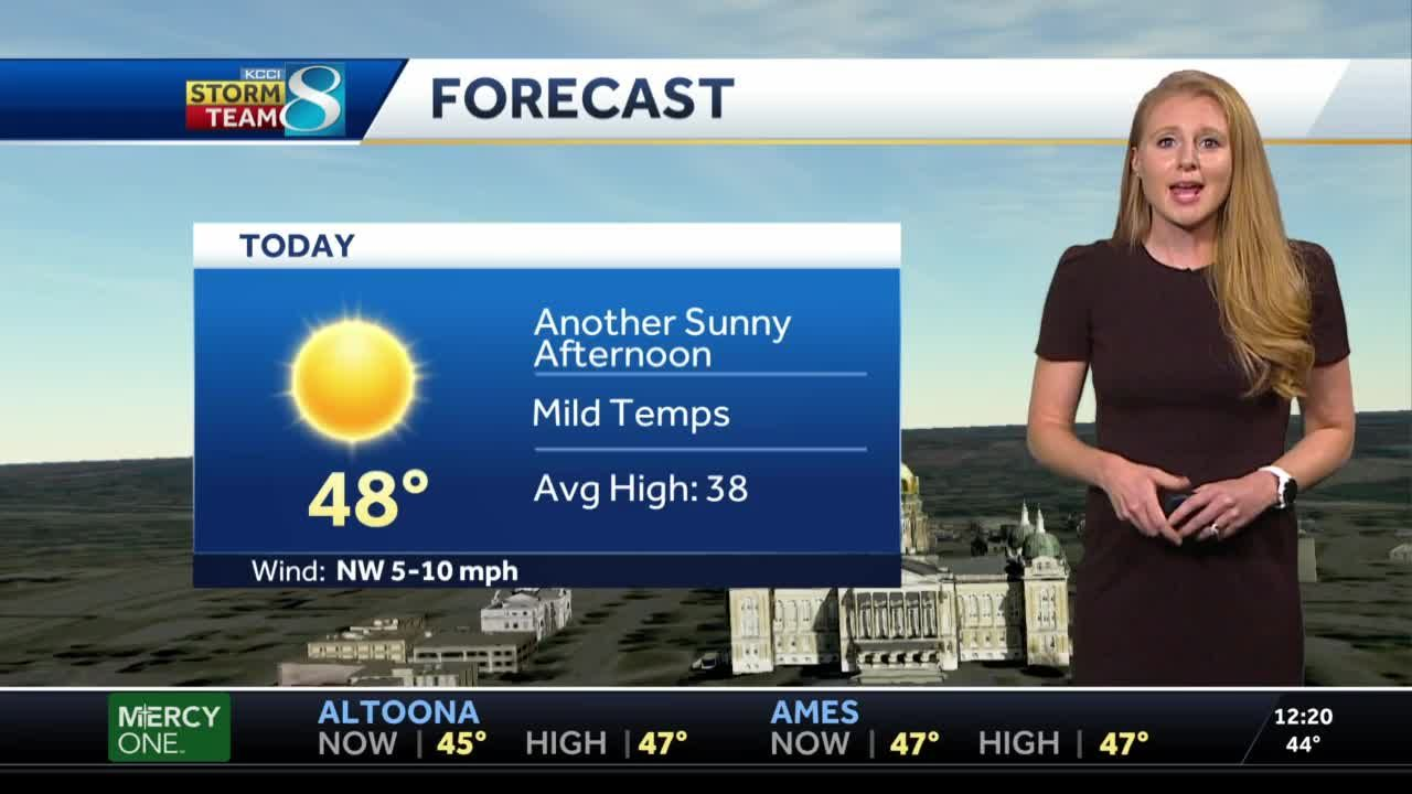 Mild afternoon ahead with temps in the upper 40s