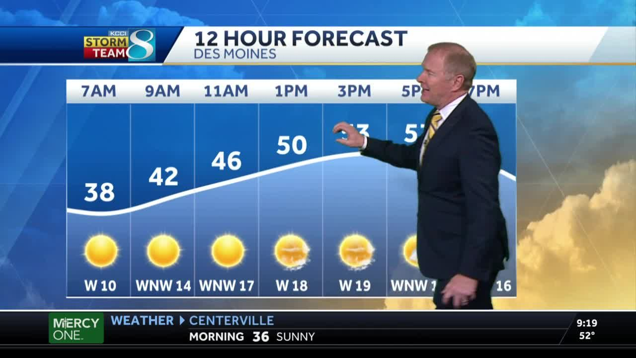 Tuesday mostly sunny, windy and cool