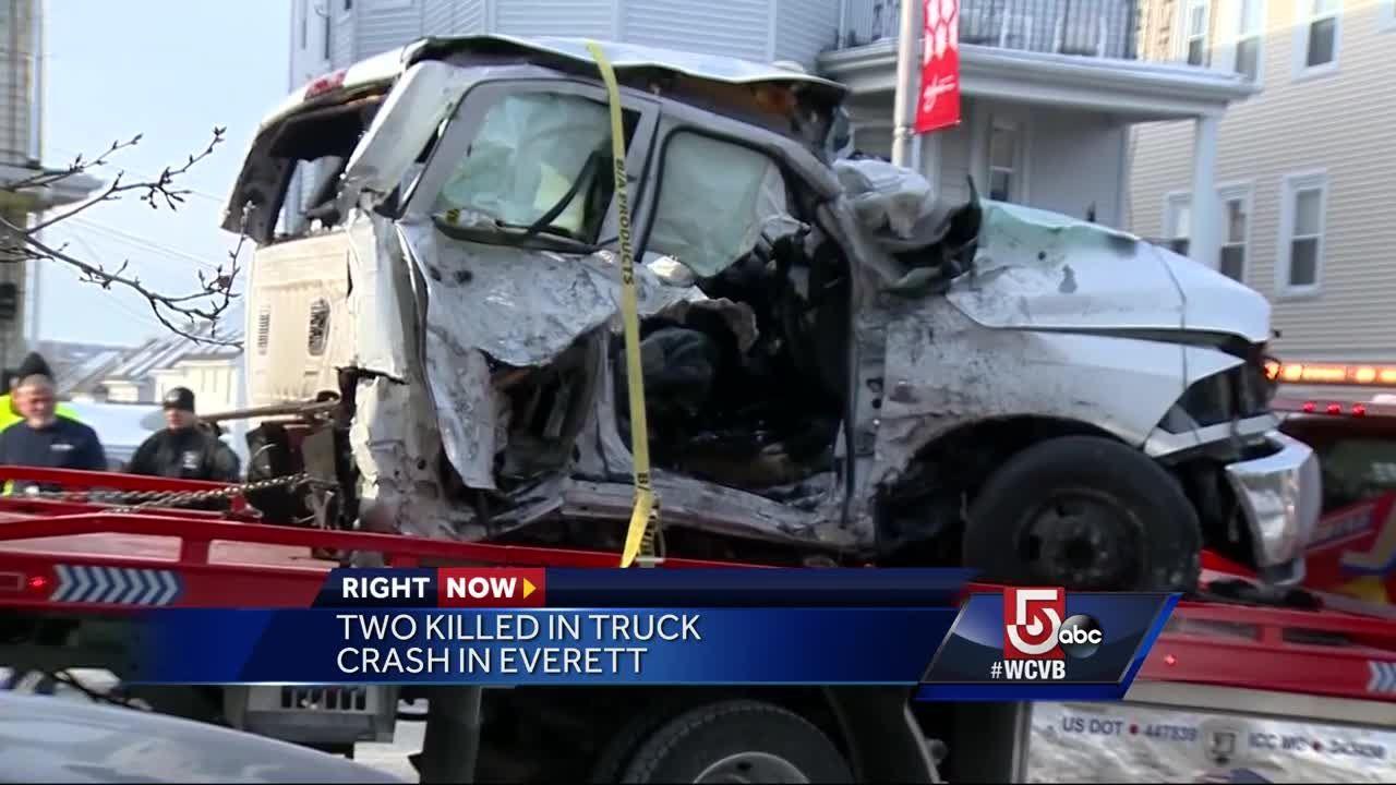 2 people killed in crash that split pickup in half