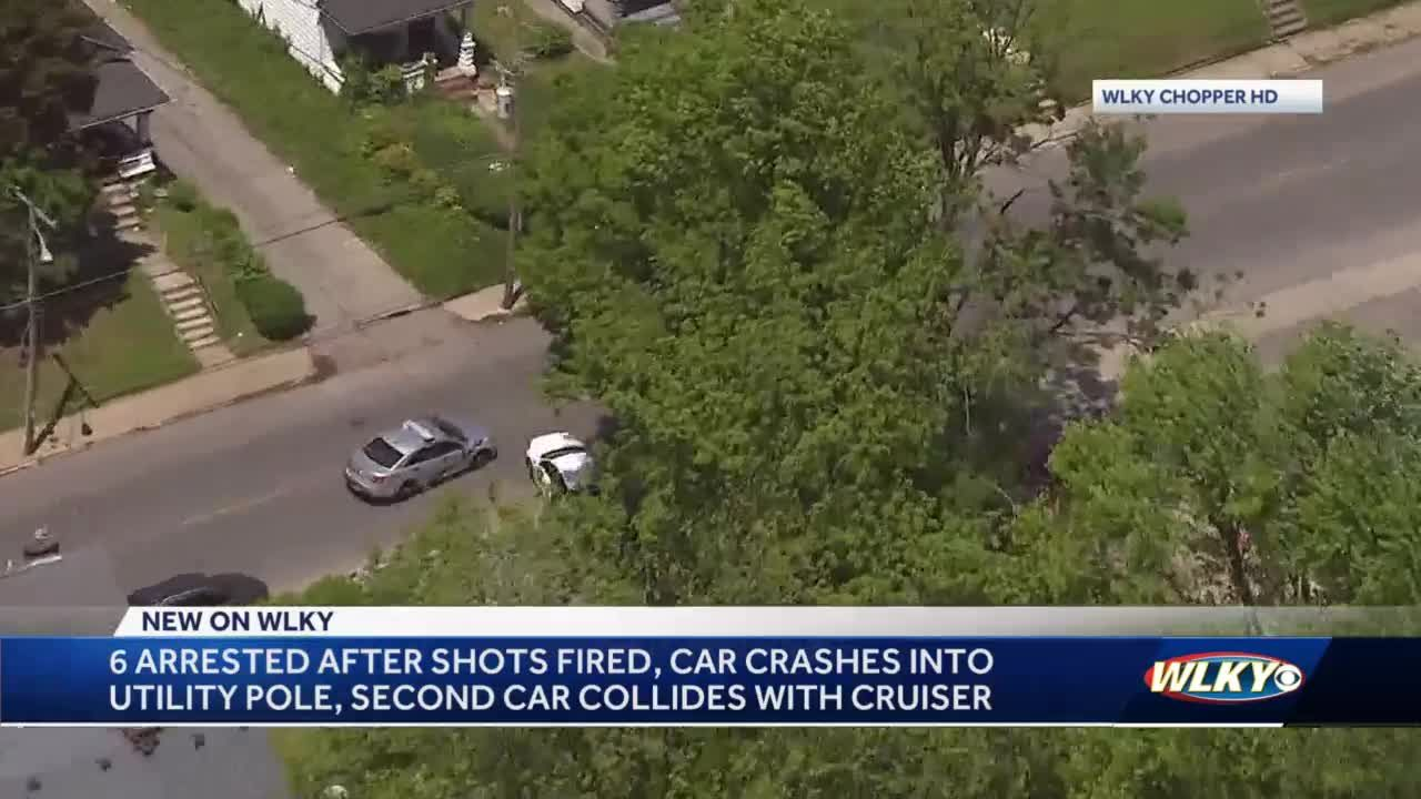 6 people arrested after shots fired, car crash during chase