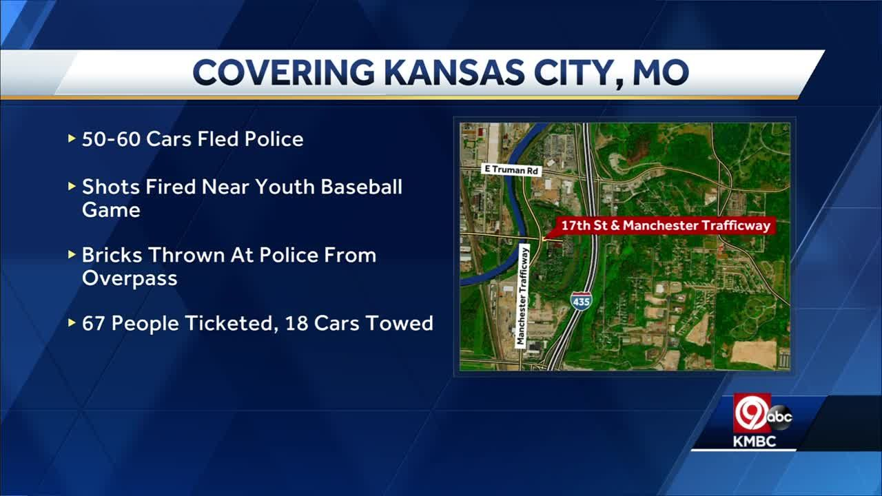 Kansas City police bust massive sideshow with 60 cars, shots fired near kids games