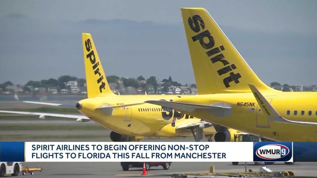 Spirit Airlines to begin offering non-stop flights to Florida this fall from Manchester