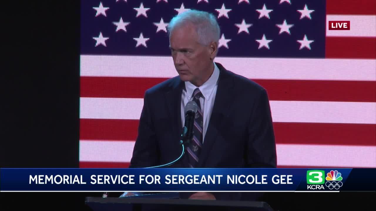 Rep. Tom McClintock speaks at Sgt. Nicole Gee's memorial
