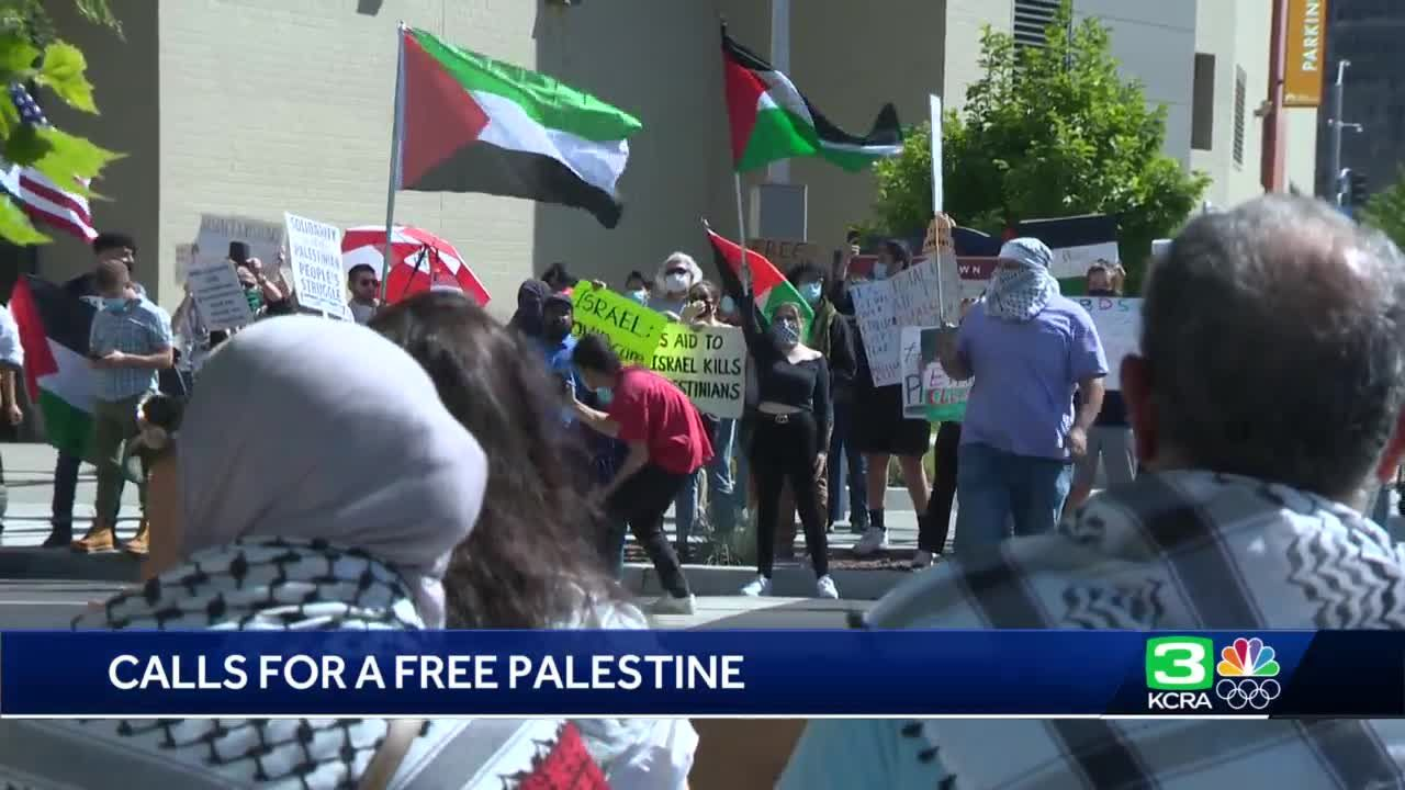 Demonstrators take to the streets of Sacramento in support of Palestinians