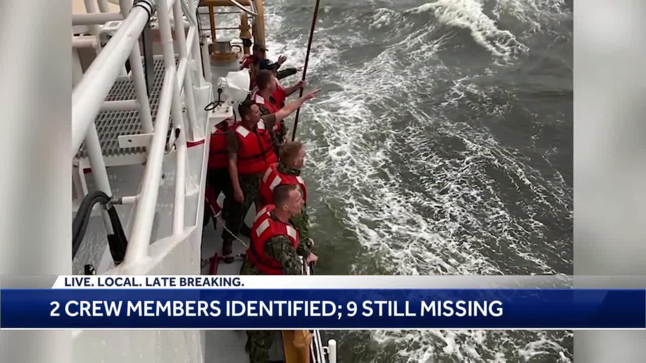 2 crew members identified, 9 still missing