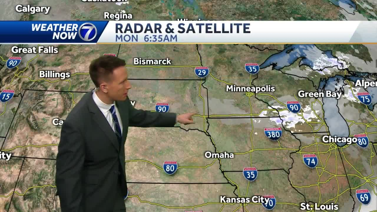 Sunny, continued cool Monday, ice jam flooding continues