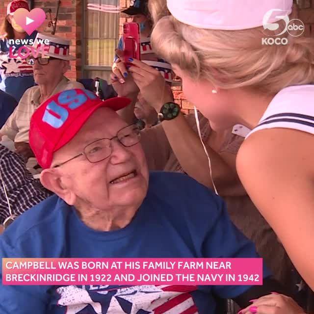 New We Love: Community gathers for parade to celebrate Oklahoma World War II veteran's 99th birthday