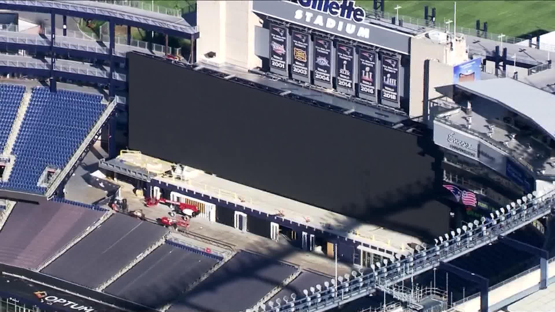Massive new big screen being installed inside Gillette Stadium