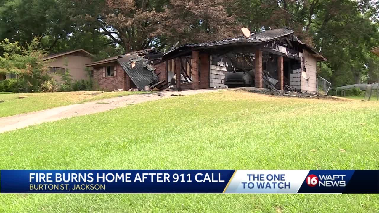 House burns as resident waits for help