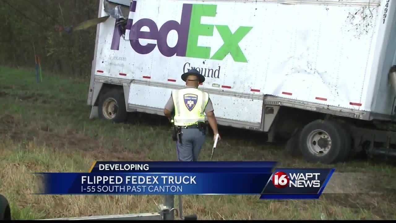 FedEx truck flips on interstate
