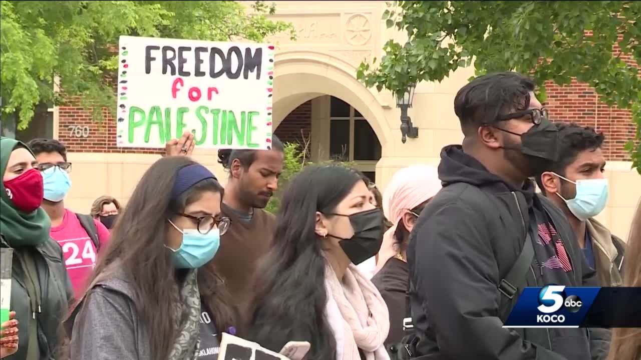 Students gather for Free Palestine protest at University of Oklahoma