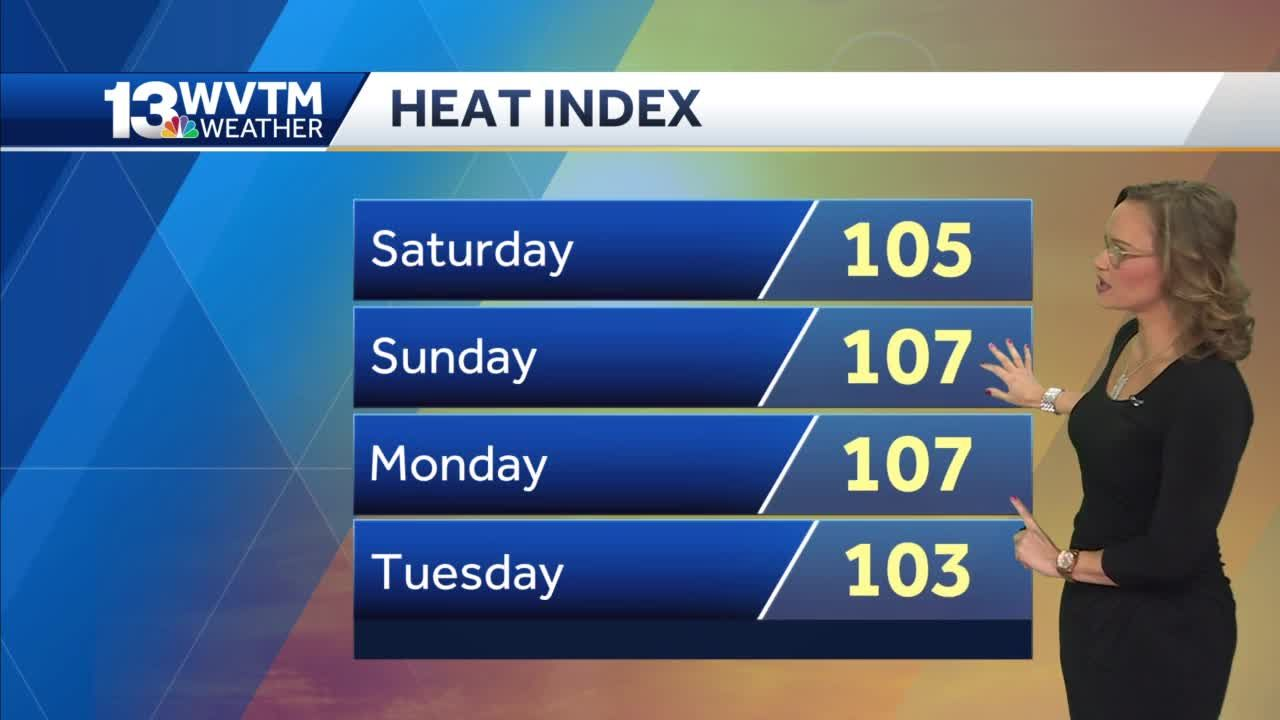 Heat Index values will peak in the 103 to 110 range
