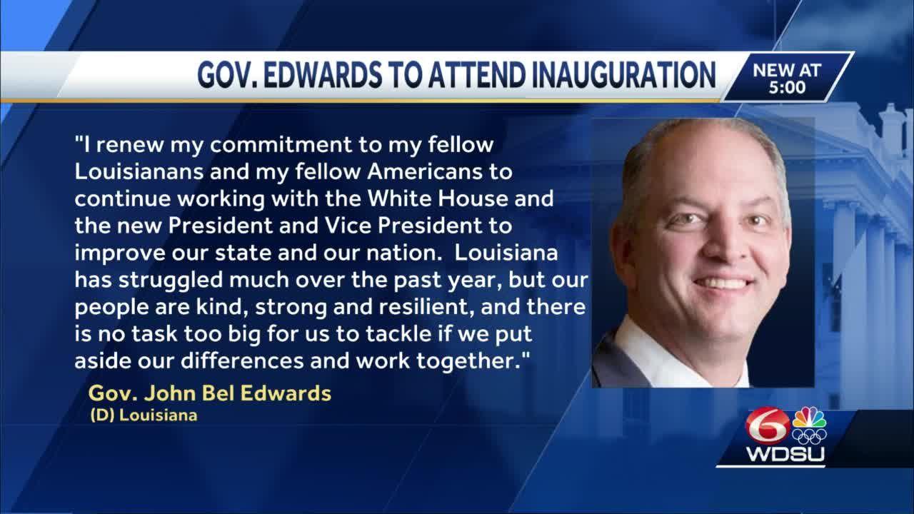 Gov. John Bel Edwards travels to Washington, D.C., for inauguration