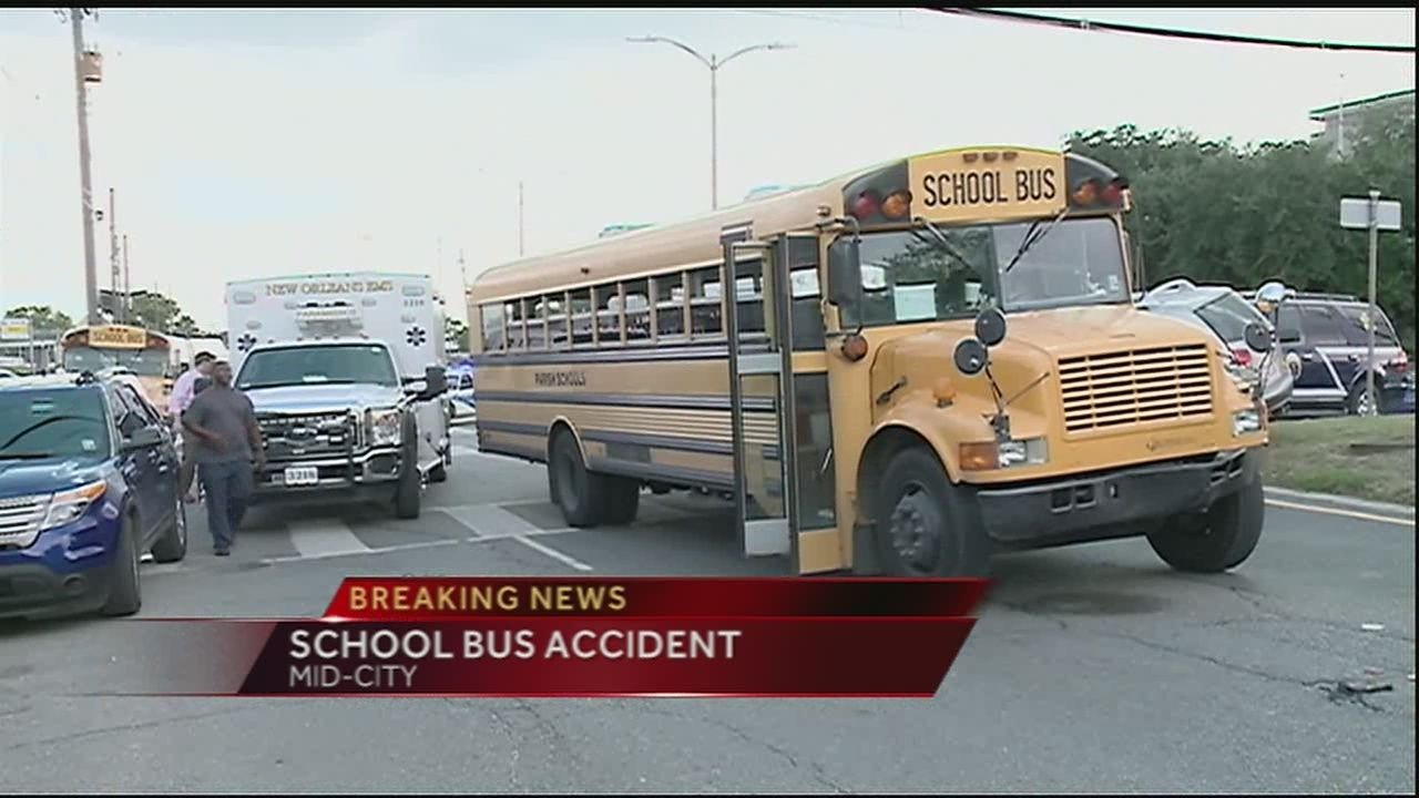10 children, bus driver injured in accident involving school bus near  Mid-City