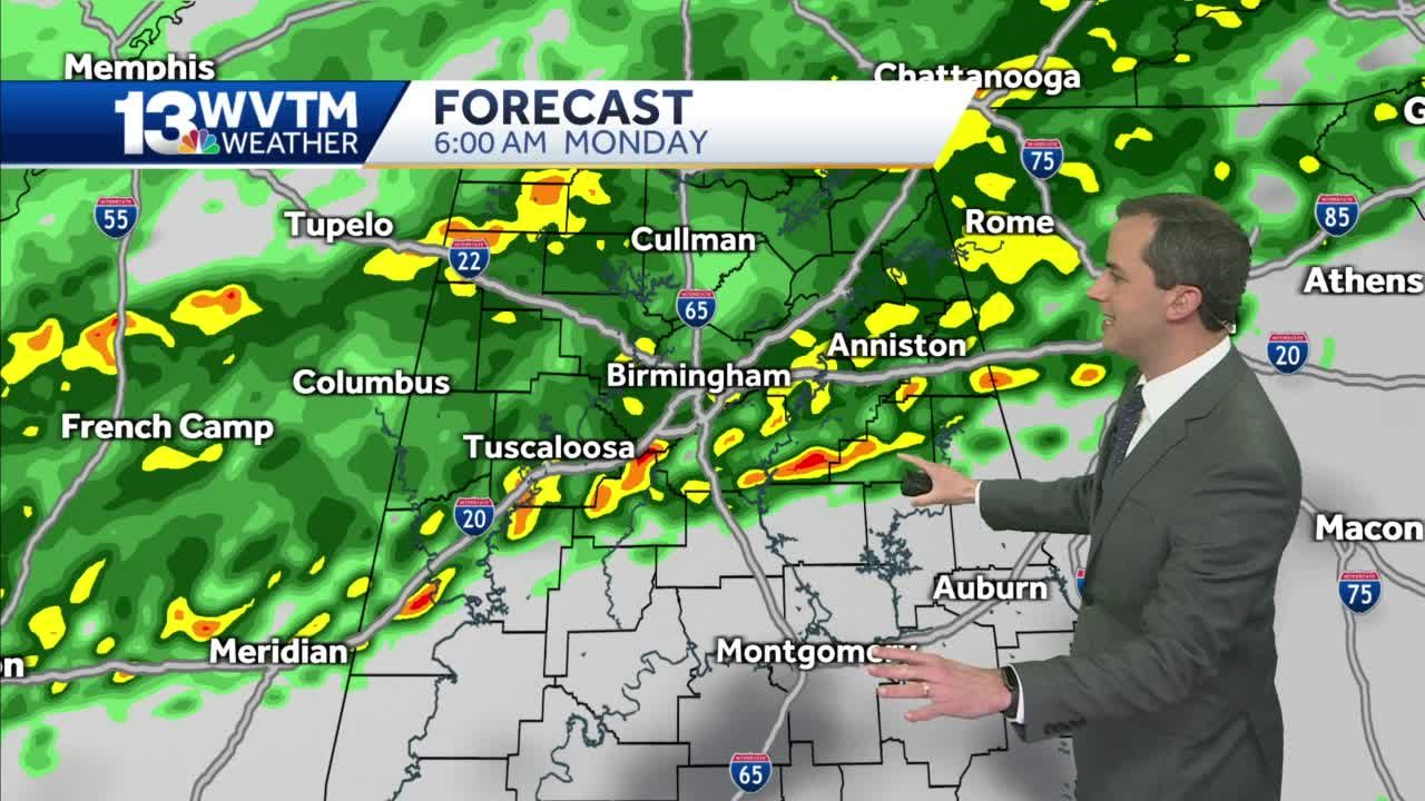 A few strong storms Sunday night