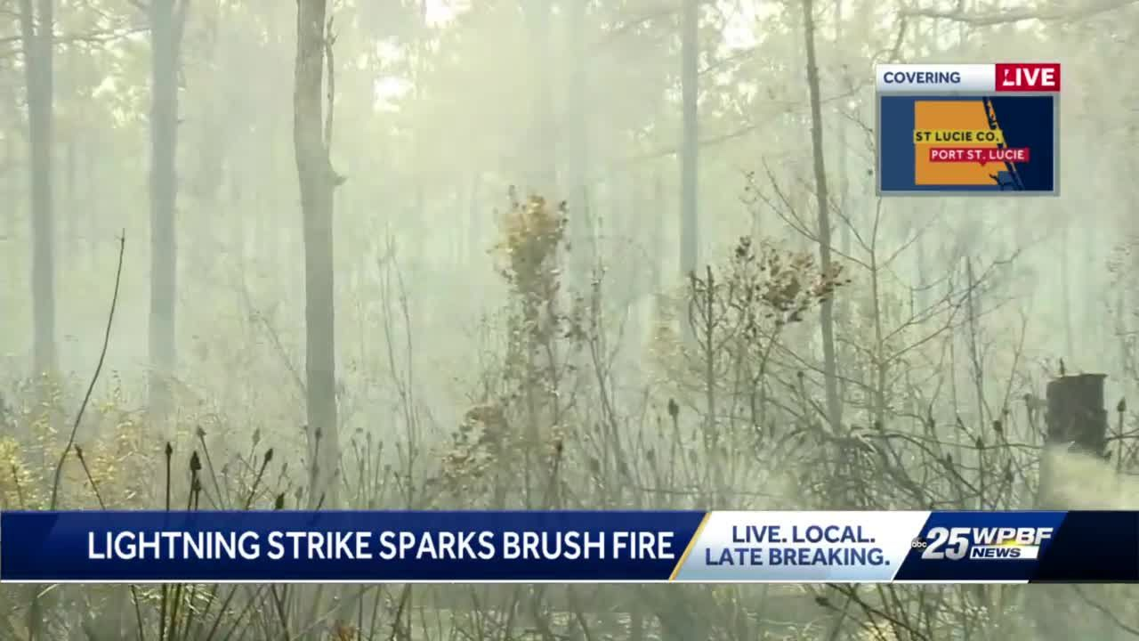 Lightning strike sparks brush fire in St. Lucie County