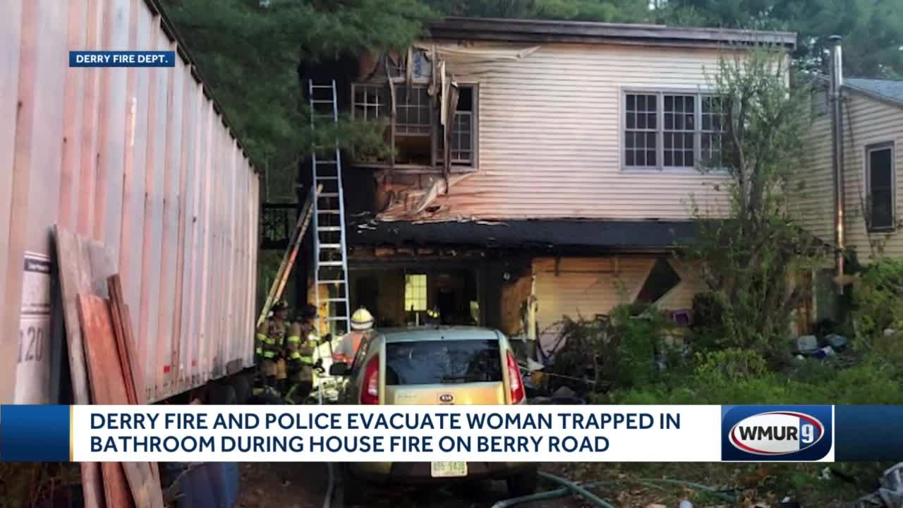 Derry fire and police evacuate woman trapped in bathroom during house fire on Berry Road